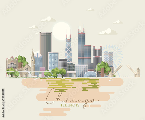 Illinois state  United States of America  Postcard from