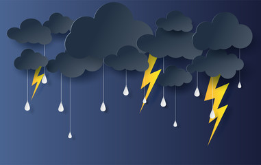 Paper art and craft style of black Cloud and Lightning rainy season on dark background.Thunder storm effects  flash shape outdoors.vector.illustration