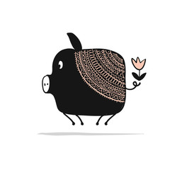 Cute piggy ornate silhouette, symbol of 2019 year for your design