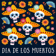 Dia de los Muertos greeting card, invitation. Mexican Day of the Dead. Decorative skulls with sombrero hat, mums, marigold flowers and berries. Hand drawn vector background. Halloween pattern.