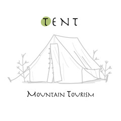 Camping tent for tourism, sketch for your design