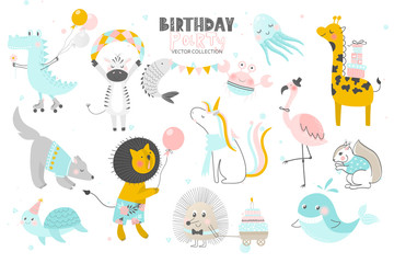 Happy Birthday.Cute Animals hand drawn style. Vector collection.