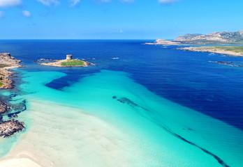 Fototapete - Luftaufnahme Stintino La Pelosa Sardinien