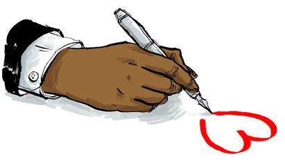 Hand zeichnet rotes Herz auf Papier für Liebesbrief