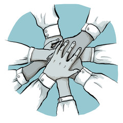 Business Team stapelt Hände für Zusammenarbeit