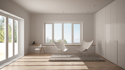 White minimal living room with armchair carpet, parquet floor and panoramic window, scandinavian architecture, modern interior design