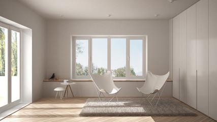 White minimal living room with armchair carpet, parquet floor and panoramic window, scandinavian architecture, modern interior design