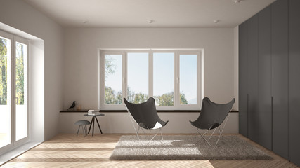 White and gray minimal living room with armchair carpet, parquet floor and panoramic window, scandinavian architecture, modern interior design