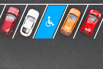 Top view of parking for the disabled
