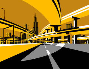 Highway overpass road and city skyline in flat style