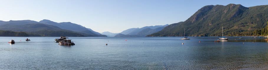 Beautiful landscape picture of Sechelt Inlet during a vibrant sunny summer day. Taken in Sunshine Coast, BC, Canada.