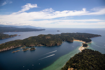 Aerial view of Thormanby Island during a sunny summer day. Taken in Sunshine Coast, BC, Canada.