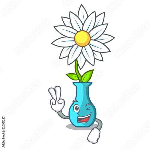 Two Finger Character Cartoon Glass Vase With Flowers Stock Image