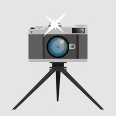 Flat old photo camera with tripod eps 10 for your design