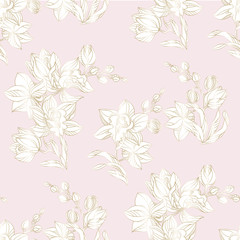 Orchid seamless pattern in pastel and gold color