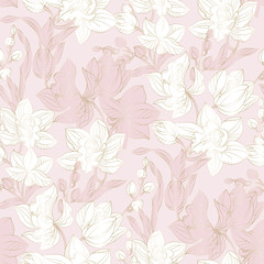 Fotorolgordijn Vintage Bloemen Orchid seamless pattern in pastel and gold color