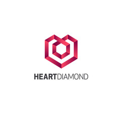 Vector logo design template. Jewelry sign. Heart Diamond
