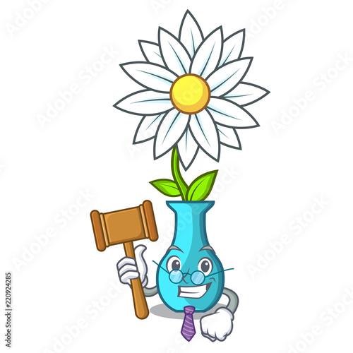 Judge Mascot Beautiful Flower In Vase Cartoon Stock Image And