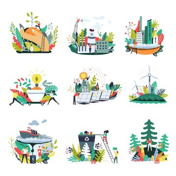 Ecology and save nature environment vector icons