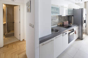 small and narrow kitchen.interior