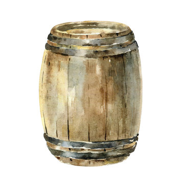 Watercolor wooden wine barrel isolated on white background