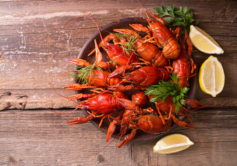 Beer party. Still life with crayfish crawfish on old wooden rustic background. Top view. Overhead. Copy space.