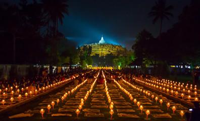 BOROBUDUR, May 29th 2018: Thousands of candles for Vesak celebration at Borobudur Temple