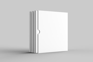 Square slipcase book mock up isolated on soft gray background. 3D illustration