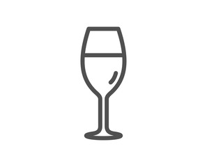 Wine glass line icon. Burgundy glass sign. Quality design element. Classic style. Editable stroke. Vector