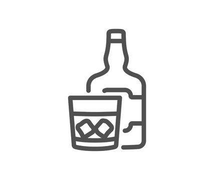 Whiskey glass with ice cubes line icon. Scotch alcohol sign. Quality design element. Classic style whiskey. Editable stroke. Vector