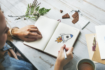 Launch rocket in a notebook