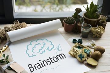 Brainstorm written on a paper