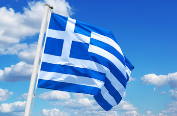Greek flag with a sky as background