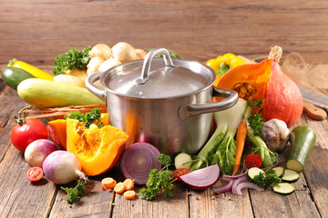 Fotobehang - vegetable and pot for soup