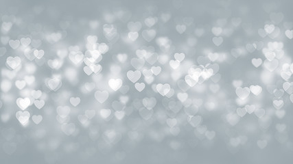 White Hearts Particles Background
