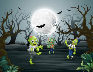 Celebrating halloween with zombie  in forest