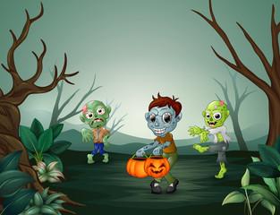 Happy zombie celebrating halloween in forest