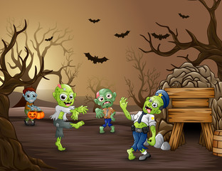 Halloween zombie walking in the dead forest
