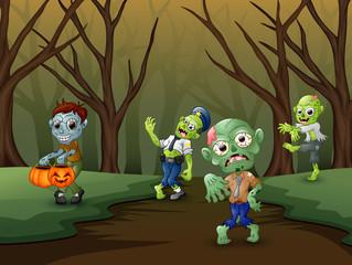 Little zombie walking on forest in a halloween