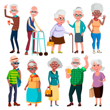 Elderly People Vector. Grandfather And Grandmother. Face Emotions. Happy People. Poses. Black, Afro American, European. Isolated Flat Cartoon Illustration
