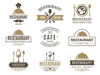 Vintage logotypes and various symbols for design of restaurant menu. Label and logo cafe vintage, badge and emblem cafe. Vector illustration