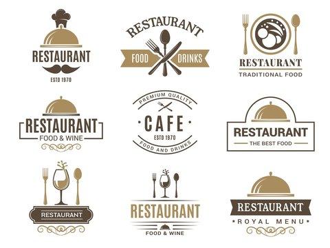 Vintage logotypes and various symbols for design of restaurant menu. Label and logo cafe vintage, badge and emblem cafe. Vector illustration