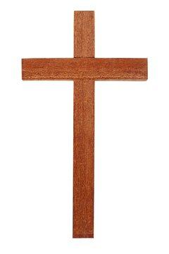 Wooden cross on white