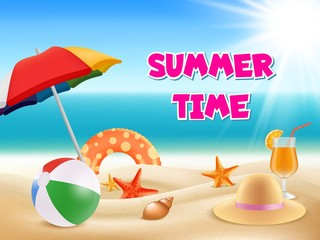 Summer background. Vector illustrations of summertime adventures. Summertime adventure, summer tourism and vacation