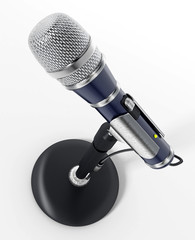 Classic design cable microphone with table stand. 3D illustration
