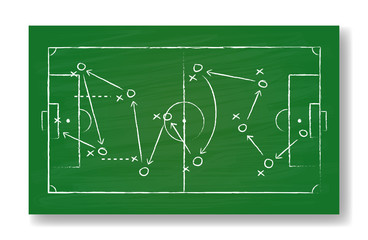 Realistic green board drawing a soccer game strategy. International world championship tournament concept. Vector illustration