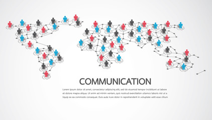 Connecting people with World map point and line composition concept of global business. Social network concept. Vector illustration
