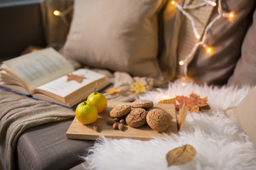 Fototapete - hygge and cozy home concept - lemons, book, almond nuts and oatmeal cookies on sofa