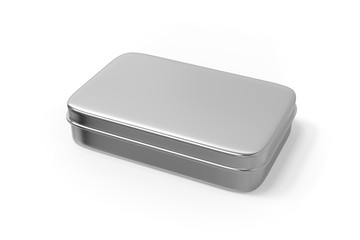 Metal Box on isolated white background, 3d illustration