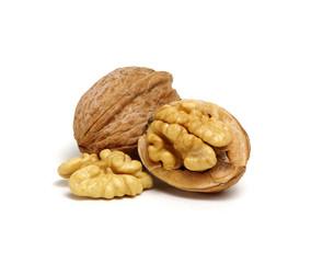 cracked walnut isolated on the white
